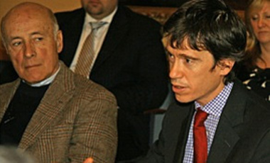 Attention to Afghanistan: Rory Stewart (right), director of the Harvard Kennedy School's Carr Center for Human Rights, and member of the Belfer Center's Board of Directors, makes a point about U.S. policy in Afghanistan while Joseph Nye looks on.