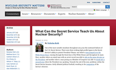 What Can the Secret Service Teach Us About Nuclear Security?