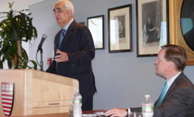 Minister Khurshid addresses an audience at the Harvard Kennedy School.