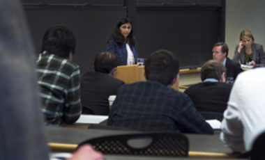 Assistant Secretary Biswal speaks at Harvard on April 16.