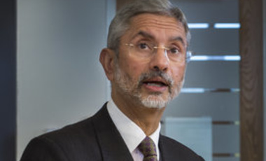 Dr. Jaishankar speaking at Harvard on April 17, 2014.