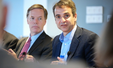 Kyriakos Mitsotakis, leader of the Greek opposition party Nea Dimokratia, speaks with R. Nicholas Burns.