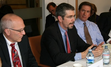 New York Times reporters Thom Shanker, left, and Eric Schmitt, center, discuss their new book, <i>Counterstrike: The Untold Story of America's Secret Campaign Against Al Qaeda.</i>