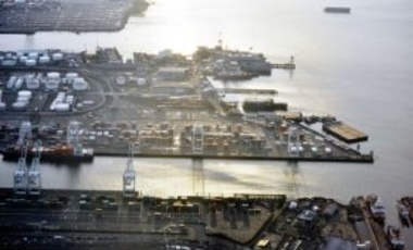 4-1-2012: Harbor Island, Seattle, Wash. The Port of Seattle & the Port of Dalian, China, partnered with other public & private sector companies in an EcoPartnership to make port terminals & infrastructures more environmentally sustainable.