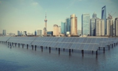 Shanghai Bund skyline with solar panels.