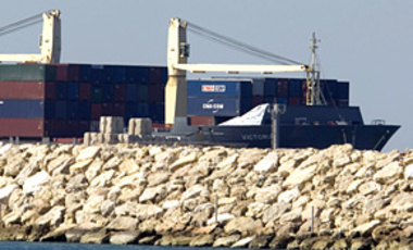 The Victoria cargo ship seized by Israel in the Mediterranean Sea docks in the port of Ashdod, Israel, Mar. 16, 2011. Israel said it seized a cargo ship loaded with weapons sent by Iran to Palestinian militants in Gaza.