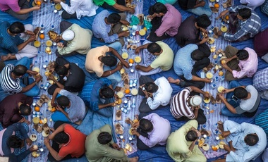 A communal charity iftar organised on a street by a local mosque in Dubai, UAE, July 22, 2016.