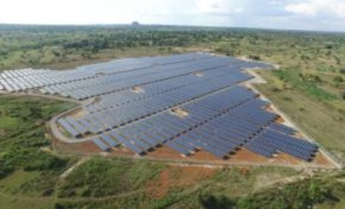 Soroti, Uganda: Made up of 32,680 photovoltaic panels, the new 10-megawatt facility is the country's first grid-connected solar plant and will generate clean, low-carbon, sustainable electricity to 40,000 homes, schools and businesses in the area.