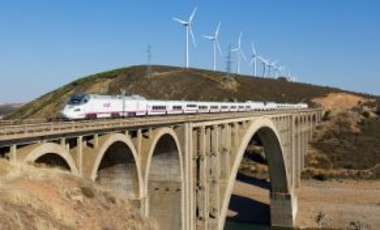 "Two RENFE class 730 ""Dual-mode Patito"" (""duckling"") crossing the Viaducto Martin Gil near Zamora, Spain, October 5, 2016."