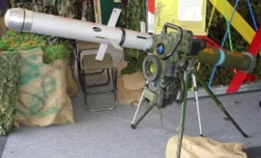 Spike ATGM Command & launcher unit with mock-up Spike-LR missile mounted on a tripod. In Oct. 2014, India chose to buy the Israeli-made Spike over the U.S. Javelin.