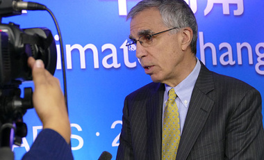 Parisian Progress: Robert Stavins, director of the Harvard Project on Climate Agreements, is interviewed in Paris during COP-21. Stavins said progress at the conference is a key step in efforts to reduce climate change.