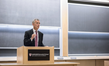 Jens Stoltenberg speaks to students at the Harvard Kennedy School.