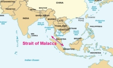 Map of the Strait of Malacca, from a U.S. DOD report. The Strait of Malacca is an important sea lane for oil shipments from the Middle East and container ships from Europe.