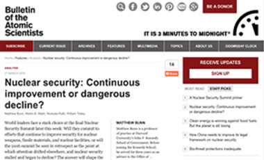 Nuclear security: Continuous improvement or dangerous decline?