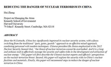 Reducing the Danger of Nuclear Terrorism in China