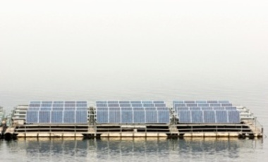 Solar panels on the water at Srinakarin Dam in Thailand.