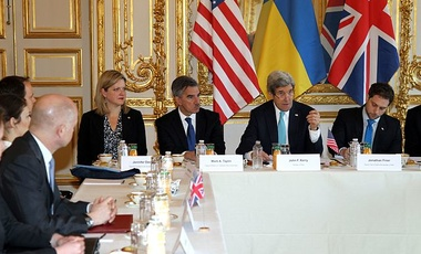 U.S. Secretary of State John Kerry hosts the Budapest Memorandum Ministerial on the Ukraine crisis with Ukrainian Foreign Minister Andrii Deshchytsia, right, and British Foreign Secretary William Hague, left,