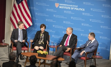 Nicholas Burns, Susan Glasser, Wolfgang Ischinger and Kurt Volker during the panel discussion.