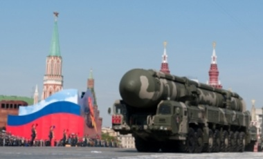 May 9, 2010: Mobile nuclear intercontinental ballistic missile (NATO name SS-27 Sickle B) in Red Square's Victory Parade, Moscow, Russia