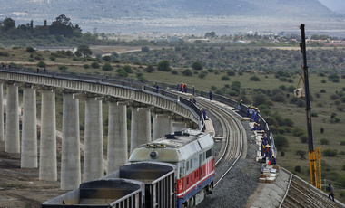 Nov. 23, 2016, a train returns from transporting ballast used in the construction of the Nairobi-Mombasa railway