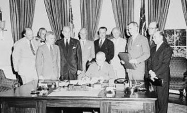 U.S. President Harry Truman signs the bill ratifying the North Atlantic Treaty, part of creating the North Atlantic Treaty Organization (NATO), 24 August 1949.