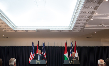 President Donald Trump and President Abbas participate in a joint press conference at the Presidential Palace, Tuesday, May 23, 20217, in Bethlehem.