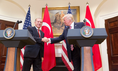 President Trump and President Erdoğan give a joint statement in the Roosevelt Room at the White House, Tuesday, May 16, 2017 in Washington, D.C.