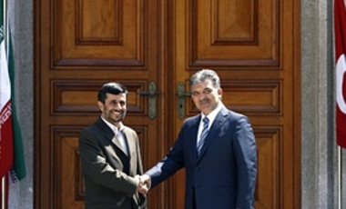 Iranian President Mahmoud Ahmadinejad, left, and his Turkish counterpart Abdullah Gul at the Ciragan Palace in Istanbul, Aug. 14, 2008. Iran's President arrived in Turkey where he is expected to sign a new gas pipeline deal.