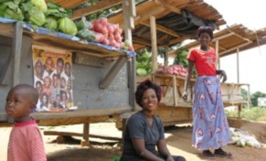 Masindi District, Uganda, Dec. 9, 2007: Women selling vegetables. The majority of Africa's farmers are women, but they face inequality in access to land, credit, technology, and other agricultural inputs.