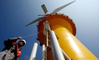 Dong Energy's Nick Brodigan on an offshore wind turbine's base platform, Gunfleet Sands Wind Farm off the coast of Brightlingsea, Essex, Apr. 24, 2009. The Carbon Trust launched a global competition for new designs of offshore wind turbine foundations.