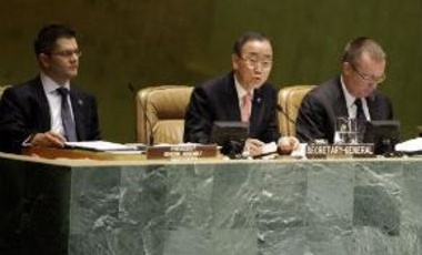 United Nations Secretary-General Ban Ki-moon, center, speaks during the opening session of a high-level meeting on countering nuclear terrorism, Sept. 28, 2012 in the General Assembly at UN headquarters.