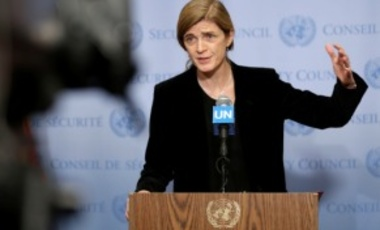U.S. Amb. to the UN Samantha Power speaks to reporters after a Security Council meeting at UN HQ, Dec. 19, 2016. The UN Security Council has unanimously approved a resolution urging immediate deployment of UN monitors to former rebel-held eastern Aleppo.