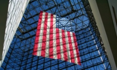 U.S. flag hanging in the pavilion of the John F. Kennedy Presidential Library and Museum.