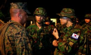 Engineer Battalion ROK Marines, 1st Marine Division, ROK Marine Corps, arrive Feb. 6, 2011, at Utapao Royal Thai Navy Airfield, Thailand, to provide support for an engineering civil affairs capability project during Exercise Cobra Gold 2011.