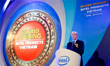 Intel Corp. President and CEO Paul Otellini speaks at the opening ceremony of the assembly and test facility of Intel's chipset products at Saigon High Tech Park, Ho Chi Minh City, Vietnam, on Oct. 29, 2010.