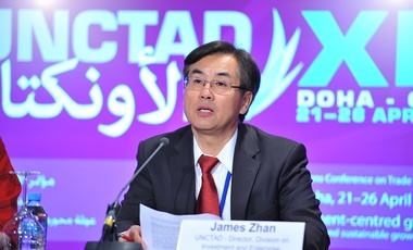 Mr. James Zhan, UNCTAD Director, Division on Investment and Enterprise speaking at the Press conference on Sovereign Wealth Funds
