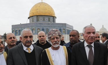Omani Foreign Minister Yusuf bin Alawi visiting Al Aqsa mosques compound in Arab east Jerusalem with the Dome of the Rock mosque seen in the background.