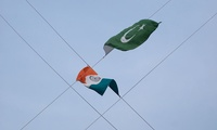 Flags of India and Pakistan.
