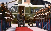 President Richard Nixon Bidding Farewell to South Vietnam's President Nguyen Van Thieu at the Door to the Air Force One Helicopter, Flanked by an Honor Guard on the Helipad of the Western White House, La Casa Pacifica, in San Clemente, California, 3 April 1973