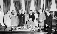 The North Atlantic Treaty was signed by President Harry S. Truman in Washington, D.C., on 4 April 1949 and was ratified by the United States in August 1949.