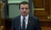 Prime Minister Albin Kurti speaking during a parliament session on Monday, Feb. 3, 2020.
