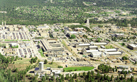 "Aerial view of Los Alamos National Laboratory, ""1995 aerial TA-3 south to north""."