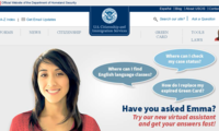 image of the Emma virtual assistant on the USCIS homepage