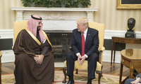 President Donald Trump speaks with Mohammed bin Salman bin Abdulaziz Al Saud, Deputy Crown Prince of Saudi Arabia, during their meeting Tuesday, March 14, 2017, in the Oval Office of the White House in Washington, D.C.