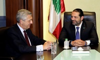 Lebanese Prime Minister designate Saad Hariri, right, meets with Filippo Grandi, left, the UN High Commissioner for Refugees, in Beirut, Lebanon, Friday, Aug. 31, 2018.