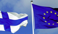 Flags of Finland and the European Union