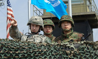 U.S. and South Korean troops look across the DMZ.