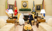 President Donald Trump meet with His Highness Sheikh Mohamed bin Zayed Al Nahyan, Crown Prince of Abu Dhabi, in the Oval Office of the White House, Monday, May 15, 2017 (Foreign Leader Visits)
