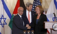 Dr. Saeb Erekat, John Kerry, and Tzipi Livni at a July 2013 press conference in Washington, DC, relaunching peace talks.
