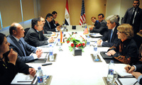 File:US Secretary of State John Kerry and a government delegation meets with Egyptian Interim Foreign Minister Nabil Fahmy and respective counterparts in Cairo on 3-Nov-2013. (U.S. Department of State)